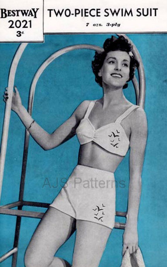 cda720801b615 This PDF Knitting Pattern is for this great Swimwear Set for Ladies from  the 1940s