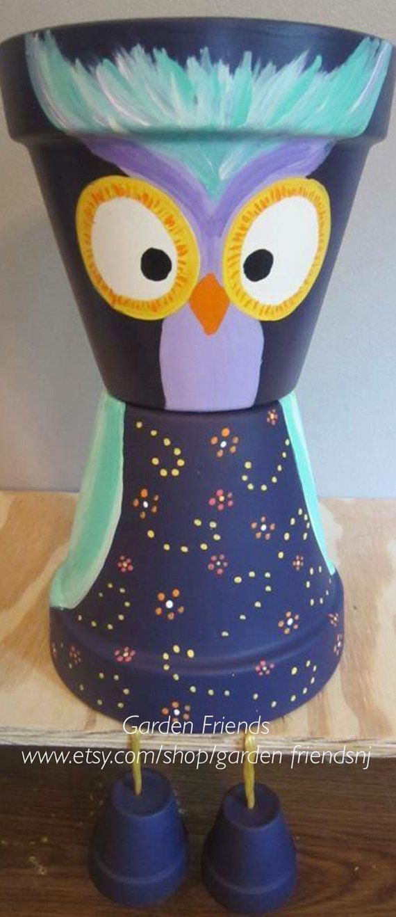 Whimsical Owl Pot Person Garden Planter Pot by GARDENFRIENDSNJ