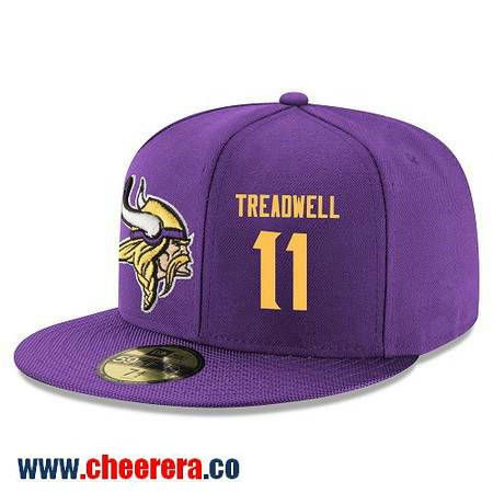 Minnesota Vikings #11 Laquon Treadwell Snapback Cap NFL Player Purple with Gold Number Hat