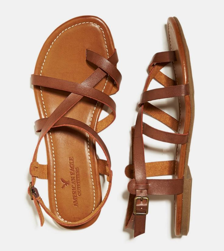 Dark Brown Strappy Criss Cross Sandal, $30 | American Eagle