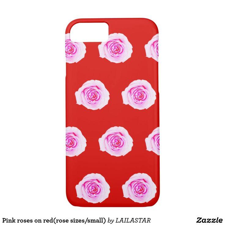 Rosas cor-de-rosa no vermelho (tamanhos/pequeno capa iPhone 8/ 7