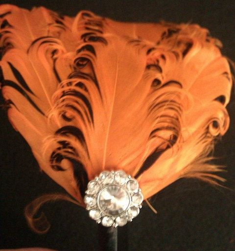 RhinestoneOrange orange fascinator orange by msformaldehyde, $18.50