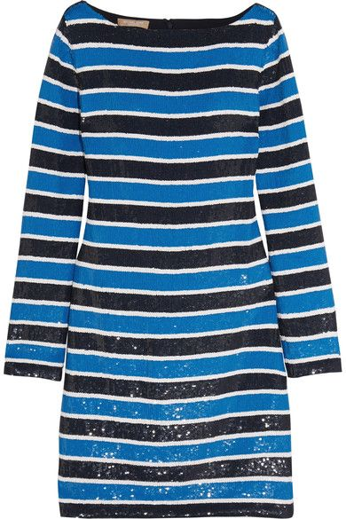 Michael Kors Collection - Striped Sequined Silk Mini Dress - Blue - US