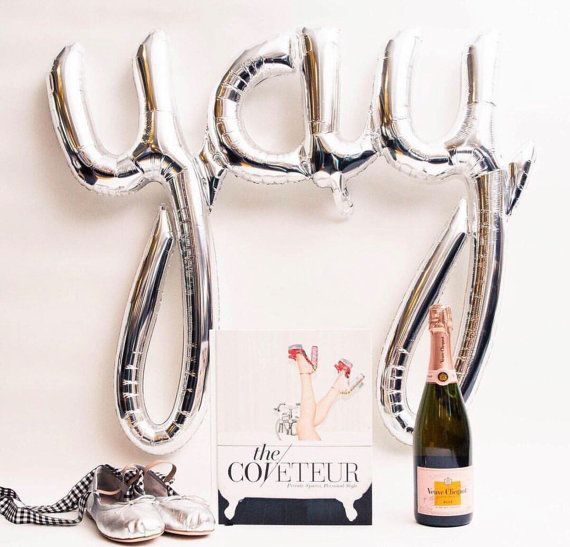 YAY letter balloon Silver Yay Balloons 40 Inch by BlushBazaar - YAY for 2017 New Years Eve