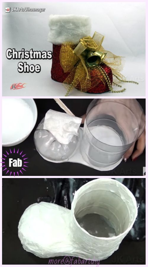 Decorações de Natal: Vídeo de tutorial do suporte de botas de Papai Noel de garrafa de plástico DIY   – Weihnachten Handwerk