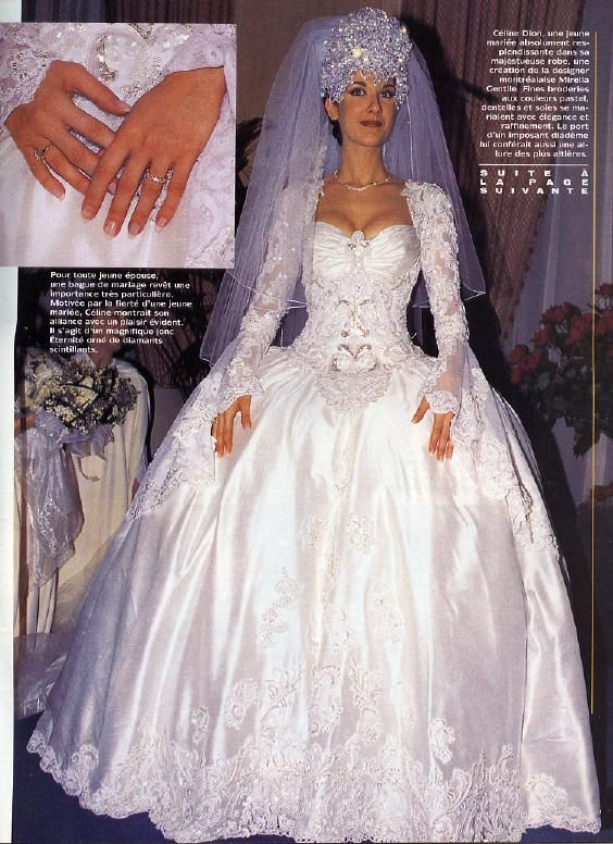 "Celine Dion's ""Age of Innocence"" wedding dress. She looks like a modern day princess. But the headdress weighed 7kg!"
