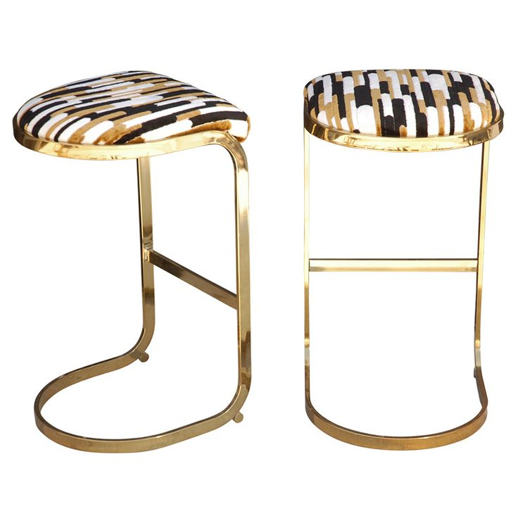 Pair Of Brass Base Bar Stools By Dillingham Sexy