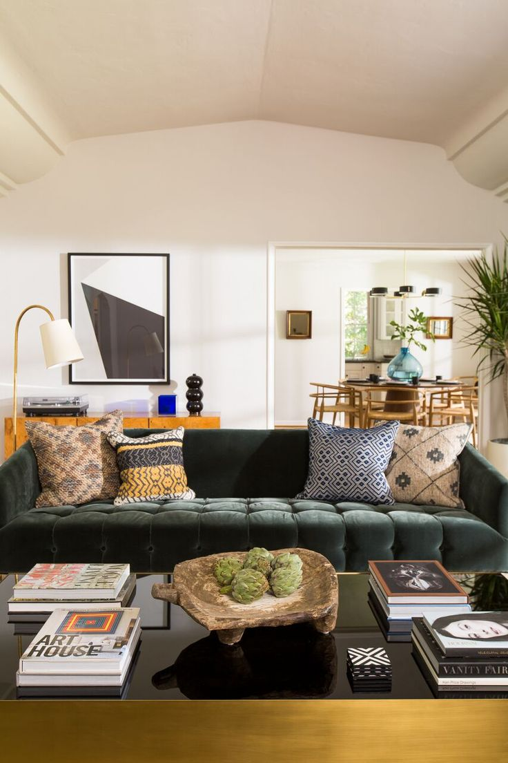 Glam Eclectic Style In Scandal Star Katie Lowesu0027 Living Room. A Jewel Green  Velvet