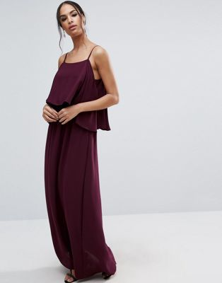 ASOS Pretty Cold Shoulder Double Layer Maxi Dress
