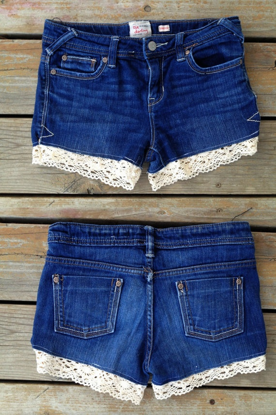 these are for sale @ old navy, but I'm just gonna add lace to thrift store cutoffs...
