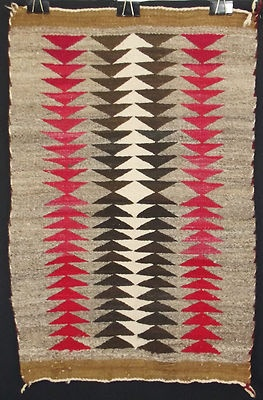 Beautiful Antique Indian Rug NAVAJO Serrated Native American Blanket Textile
