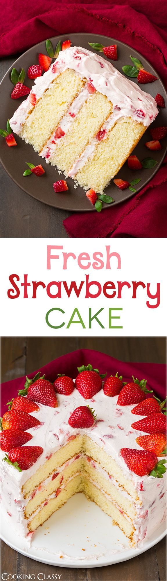 Fresh Strawberry Cake - this cake is DIVINE!! It's The perfect summer cake! The cream cheese in the whipped cream topping makes all the difference. (Summer, berry cake, berry desserts, strawberry recipes)