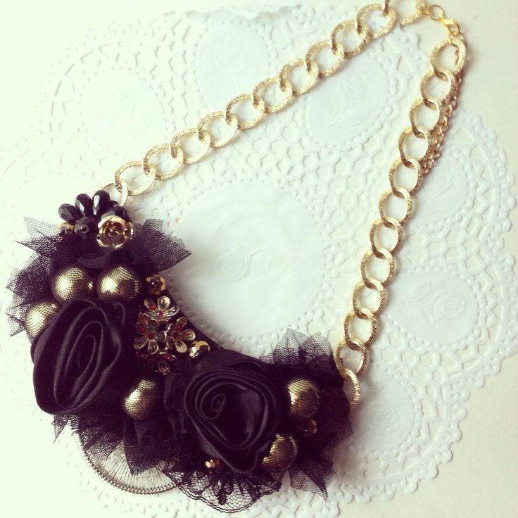 Handmade black embellished statement necklace
