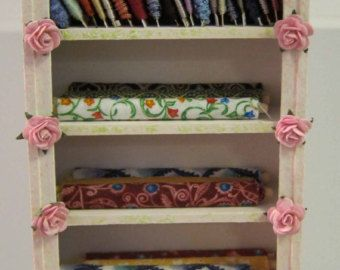 Dollhouse Miniature, Furniture, OOAK, Display, Bookcase, Shabby Chic, 12th Scale, Sewing, Filled