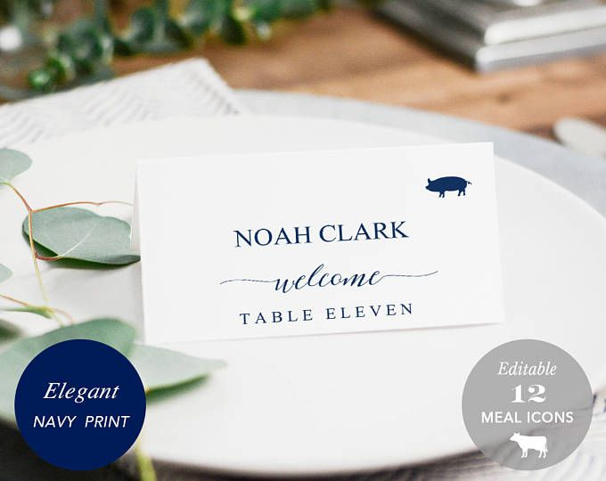 Wedding Place Card Printable, Place Card Template, Meal Choice Selection, Name Card, Seating Card, Navy Blue, Editable PDF #SPP008iipc