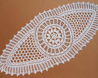 """Tapetes de encaje de tapete blanco ganchillo oval, centro de mesa de ganchillo, crochet camino de mesa, 23 """"x 10"""""""