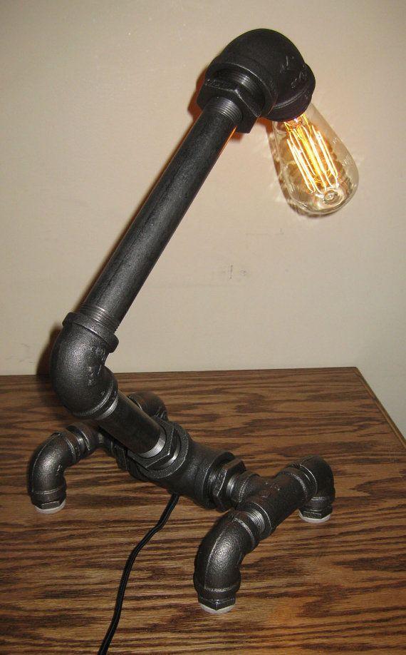 Insustrial Black Metal Pipe Desk Lamp w/ by MiltonDouglasLampCo, $129.95
