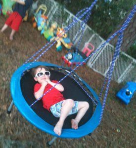 Trampo-Swing | AllFreeKidsCrafts.com Transform a mini trampoline into a bouncy swiveling swing!--What a great idea!!!!