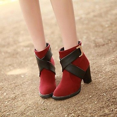 Women's Shoes Faux Leather Chunky Heel Round Toe Booties/Ankle Boots Boots Casual Black/Green/Red – USD $ 22.99 --- green