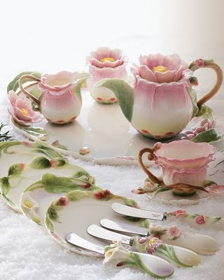 Beautiful Tea Set, that I'm sure my Mother has in purple. A lesson I learned on my own from her, with out her meaning to teach it... always own a beautiful tea set that you love. It can make you feel positive in being a woman.