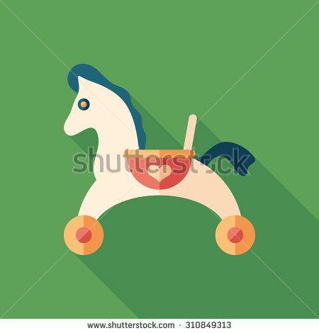 Toy baby horse flat square icon with long shadows. #homeinterior #homefurniture #flaticons #vectoricons #flatdesign