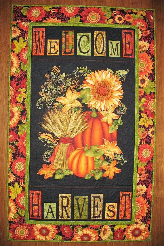 Autumn Wall Hanging Fall Pumpkins Fall Leaves Sunflowers Quilted Handmade Fabric From Henry Glass Fall Pumpkins Quilted Wall Hangings Wall Hanging