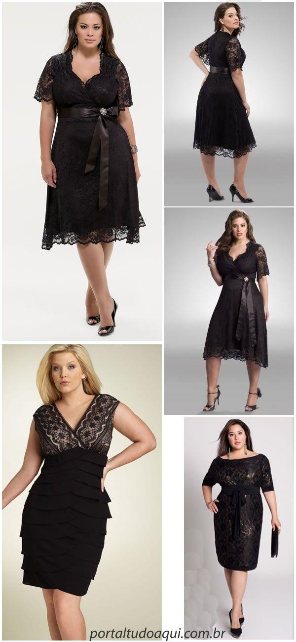Vestido de festa preto com renda para gordinhas