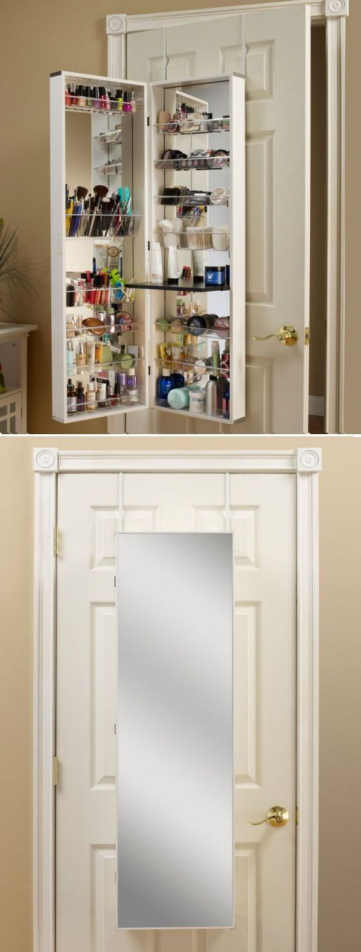 Space-Saving Over-the-Door Beauty Organizer ♥ #organize #makeup `