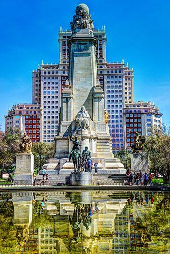 Plaza de España and Monument to Miguel de Cervantes with Don Quixote and Sancho Panza sculptures - Madrid Spain