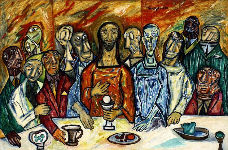 F N Souza 1990 121 cm x 183 cm oil on canvas Last supper