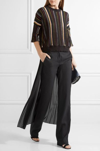 Black crepe and georgette Concealed hook, button and zip fastening at front Fabric1: 100% viscose; fabric2: 100% polyester; pocket lining: 70% cotton, 30% silk Dry clean