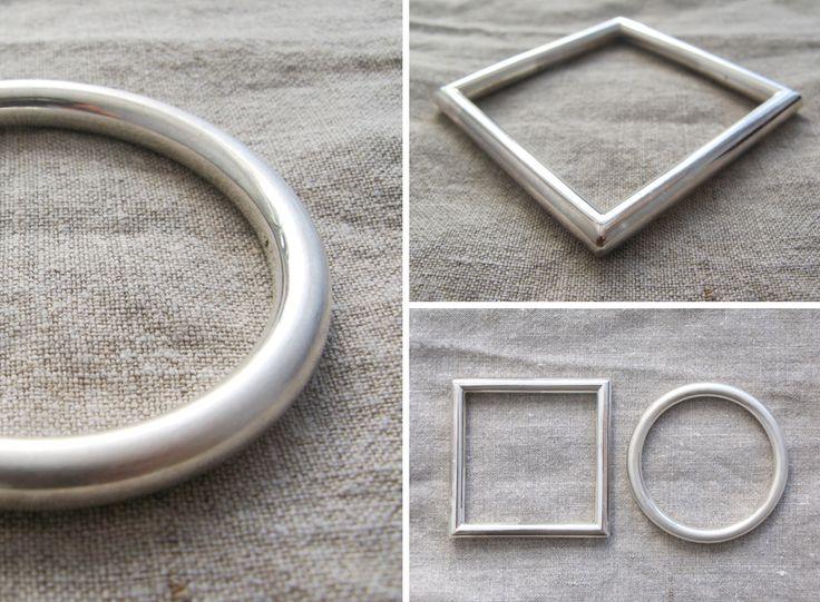 Modern silver bracelets / nowoczesne srebrne bransoletki, koło i kwadrat, minimalizm yuvel.pl