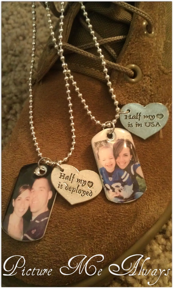 His and her deployment dog tags. This would go perfectly with my Love My Hero necklace!