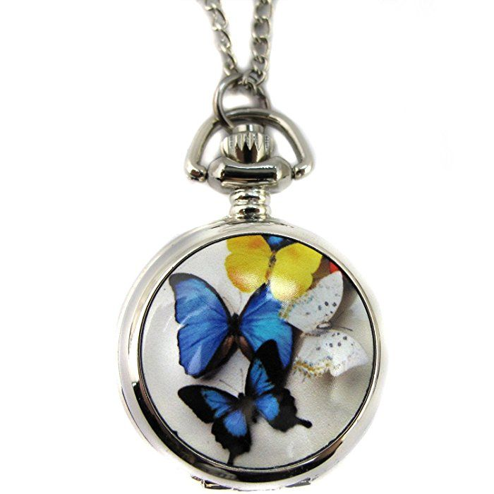 Youyoupifa Beautiful Butterfly Silver Alloy Quartz Chain Pocket Watch (Women's)
