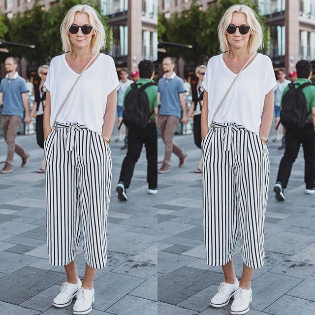 #STILPÅBRYGGA Striped culottes and a white tee - this feels like the perfect…