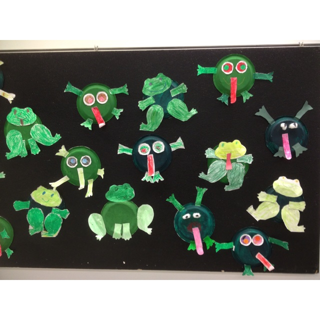 Silly frog craft! Made with paper plates.