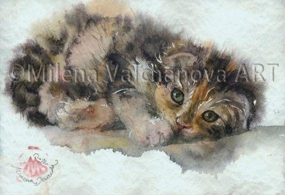 Сладко коте CAT ART PRINT - акварел котка живопис, котка печат, котка стена изкуство, котка декор, котка любовник подарък, котка портрет