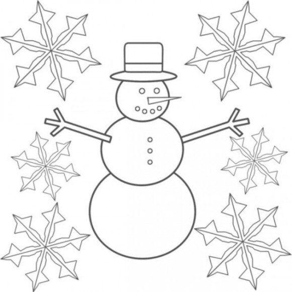 Novogodnyaya Raskraska Snegovik I Snezhinka Raskraski Stranicy Snegovik I Snezhinka Snowman Coloring Pages Coloring Pages Winter Snowflake Coloring Pages