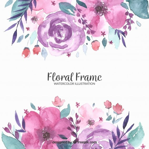 Download Floral Frame In Watercolor Style For Free In 2020 Pink