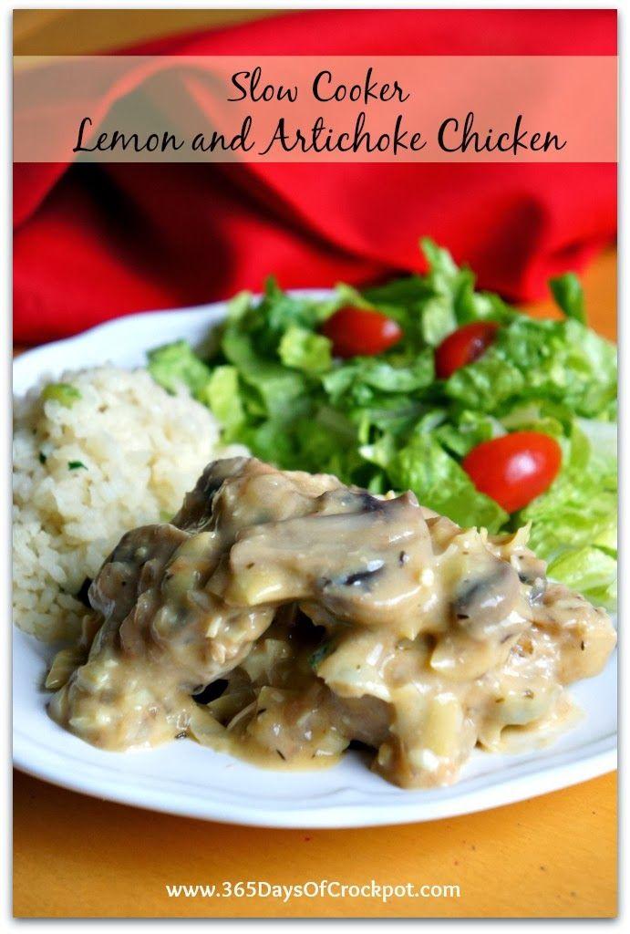 Recipe for Slow Cooker Lemon Artichoke Chicken #slowcooker #crockpotrecipe #easydinner