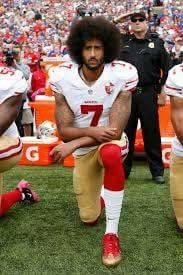 "REMEMBER WHY HE STARTED THE PROTEST: ""I am not going to stand up to show pride in a flag for a country that oppresses black people and people of color....To me, this is bigger than football and it would be selfish on my part to look the other way. There are bodies in the street and people getting paid leave and getting away with murder."""