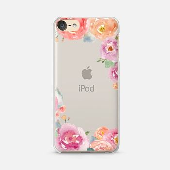 iPod Touch 6 Case Pretty Watercolor Flowers Painted Design