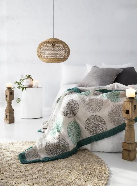 Pure linen handblockprinted Mandala throw, designed & printed in Melbourne....Use code AUSDAY17 to get 25% off storewide