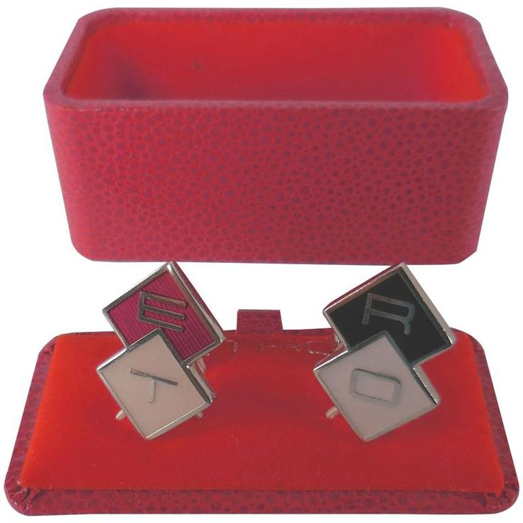 Etro Milano Signature Enamel and Gold Cuff Links   From a unique collection of vintage cufflinks at https://www.1stdibs.com/jewelry/cufflinks/cufflinks/