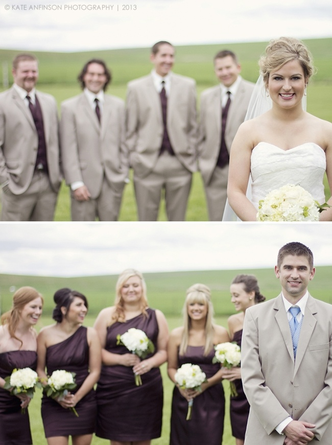 shot of bride with groomsmen in the background // shot of groom with bridesmaids in the background // fun composition // weddings