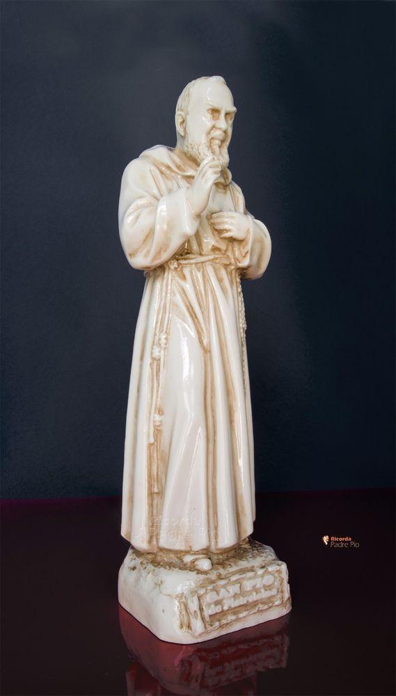 Statua di Padre Pio  29cm, resina, effetto Invecchiato lucido