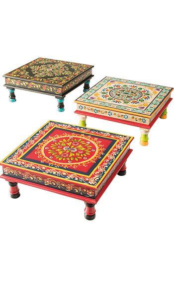 Handpainted indian bajot coffee tables www.namaste-uk.com                                                                                                                                                                                 Mais