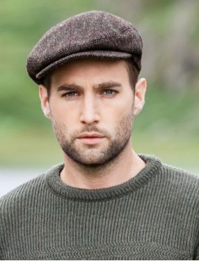 Trinity Tweed Flat Cap - Brown with Red $55.95