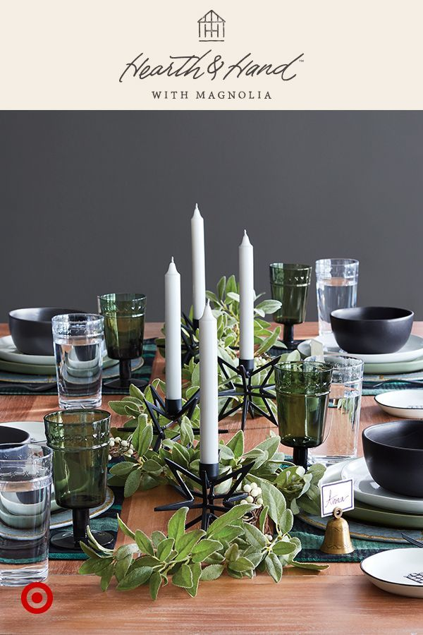 A well-set table doesn't have to be a lot of work. Metal chargers layer perfectly onto your existing style. Beautiful linens, centerpieces and personalized place card holders are some of Joanna's favorites, too. Hearth & Hand™️ with Magnolia, only at Target.