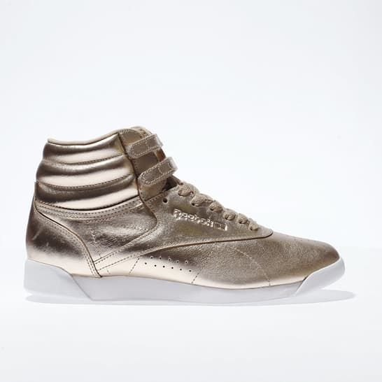 womens rose gold reebok freestyle hi metallic trainers | schuh